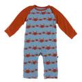 Kickee Pants Long Sleeve Raglan Romper, Blue Moon Crab Family