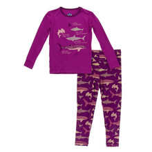 Kickee Pants Long Sleeve Pajama Set, Melody Sharks