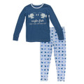 Kickee Pants Long Sleeve Pajama Set, Pond Angler Fish