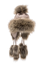 Village House Fur Hat 3 String - Cafe Light