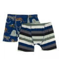 Kickee Pants Boxer Briefs (Set of 2), Flag Blue Big Cats and Zoology Stripe