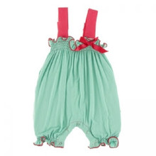 KicKee Pants Gathered Romper with Contrast Bow, Glass with Red Ginger - 0-3 Months