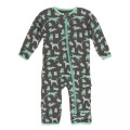 Kickee Pants Coverall w/Zipper, Stone Domestic Animals