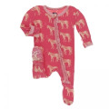Kickee Pants Muffin Ruffle Footie w/zipper, Red Ginger Unicorn