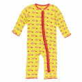 Kickee Pants Muffin Ruffle Coverall w/ Zipper, Banana Snails