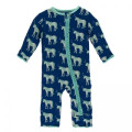 Kickee Pants Muffin Ruffle Coverall w/ Zipper, Flag Blue Unicorns