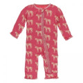 Kickee Pants Muffin Ruffle Coverall w/ Zipper, Red Ginger Unicorns