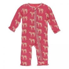 Kickee Pants Muffin Ruffle Coverall w/ Zipper, Red Ginger Unicorns