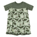 Kickee Pants Short Sleeve Swing Dress, Aloe Endangered Animals - Size S(6/8)