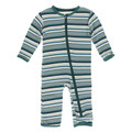 Kickee Pants Coverall w/Zipper, Multi Agriculture Stripe