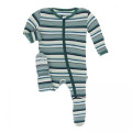 Kickee Pants Footie w/Zipper, Multi Agriculture Stripe