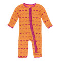 Kickee Pants Muffin Ruffle Coverall w/ Zipper, Apricot Chickens