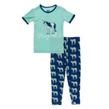 Kickee Pants Short Sleeve Pajama Set, Flag Blue Unicorns