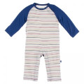 Kickee Pants Long Sleeve Raglan Romper, Everyday Heroes Multi Stripe