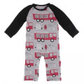 Kickee Pants Long Sleeve Raglan Romper, Feather Firefighter