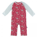 Kickee Pants Long Sleeve Raglan Romper, Flag Red Construction