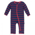 Kickee Pants Coverall w/Zipper, Everyday Heroes Navy Stripe