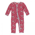 Kickee Pants Coverall w/Zipper, Flag Red Construction