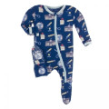 Kickee Pants Footie w/Zipper, Navy Education