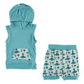 Kickee Pants Short Sleeve Hoodie Tank Outfit, Aloe Aliens with Flying Saucers