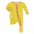 Kickee Pants Classic Ruffle Footie w/zipper, Banana Snails
