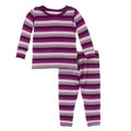 Kickee Pants Long Sleeve Pajama Set, Coral Stripe - Size 8