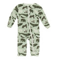 Kickee Pants Coverall w/Zipper, Aloe Endangered Animals