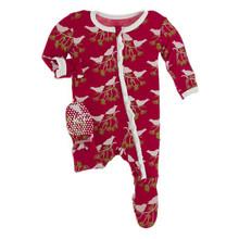 Kickee Pants Muffin Ruffle Footie w/zipper, Crimson Kissing Birds