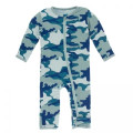 Kickee Pants Coverall w/Zipper, Oasis Military