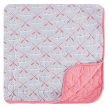 Kickee Pants Quilted Toddler Blanket, Dew Paddles and Canoe/Strawberry