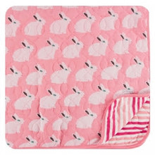 Kickee Pants Quilted Toddler Blanket, Strawberry Forest Rabbit/Forest Fruit Stripe