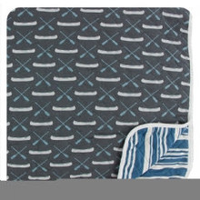 Kickee Pants Quilted Toddler Blanket, Stone Paddles and Canoe/Fishing Stripe