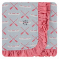 Kickee Pants Ruffle Stroller Blanket, Dew Paddles and Canoe