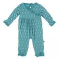 Kickee Pants Long Sleeve Kimono Ruffle Romper, Neptune Mini Seahorses