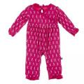 Kickee Pants Long Sleeve Kimono Ruffle Romper, Prickly Pear Mini Seahorses