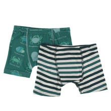 Kickee Pants Boxer Briefs Set of 2, Cedar Crab Types & Wildlife Stripe