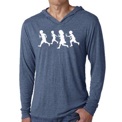 scissors, running, children, zombie, unicorn, kitty, hoody, long sleeve, hoodie, unisex, screen print, silk screen, san diego, vintage, tri-blend, circles and squares, silhouette, play, boy, girl, metaphor, swing, David Cuzick