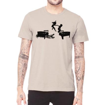 HOT LAVA on tan unisex t-shirt for men or women. 52% cotton, 48% polyester. Preshrunk