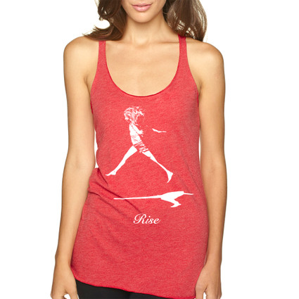 RISE on vintage red Next Level tri-blend racer back tank with white ink