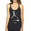 RISE on vintage black Next Level tri-blend racer back tank with white ink
