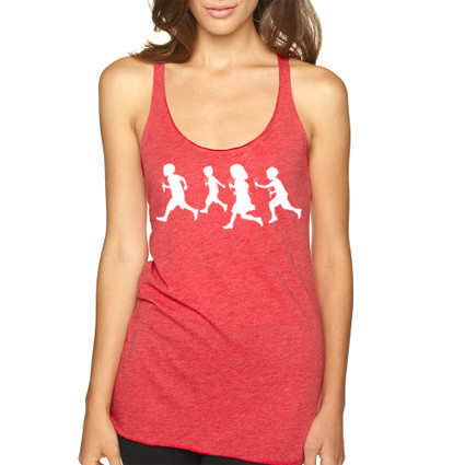 RUNNING WITH SCISSORS on red Next Level tri-blend racer back tank with white ink