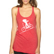 FASTER FASTER on red Next Level tri-blend racer back tank with white ink