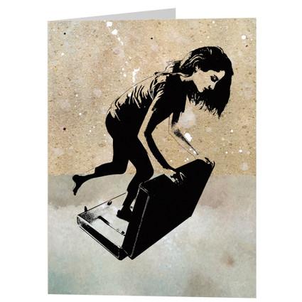 DESTINATION greeting card - girl traveler