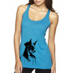 GIRL WITH FOX MASK on mauve triblend racerback tank for women