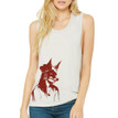 GIRL WITH FOX MASK on heather dust flowy scoop muscle tank for women