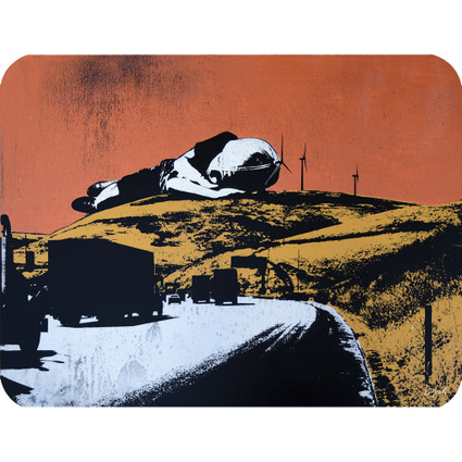 GIANT BOY SLEEPING AMONG WINDMILLS art card