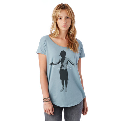 A FISH STORY on women's cotton and modal scoop neck shirt for women