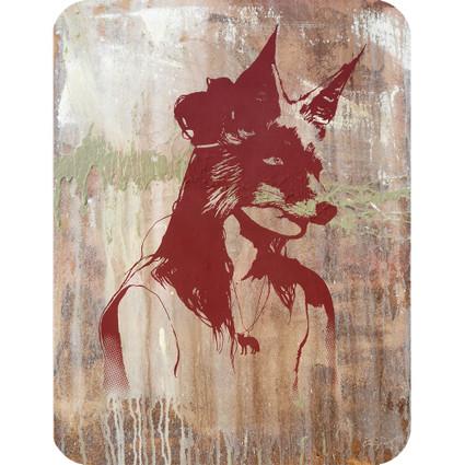 GIRL WITH FOX MASK art card / postcard