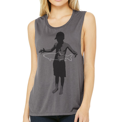 A FISH STORY on women's scoop neck muscle tank