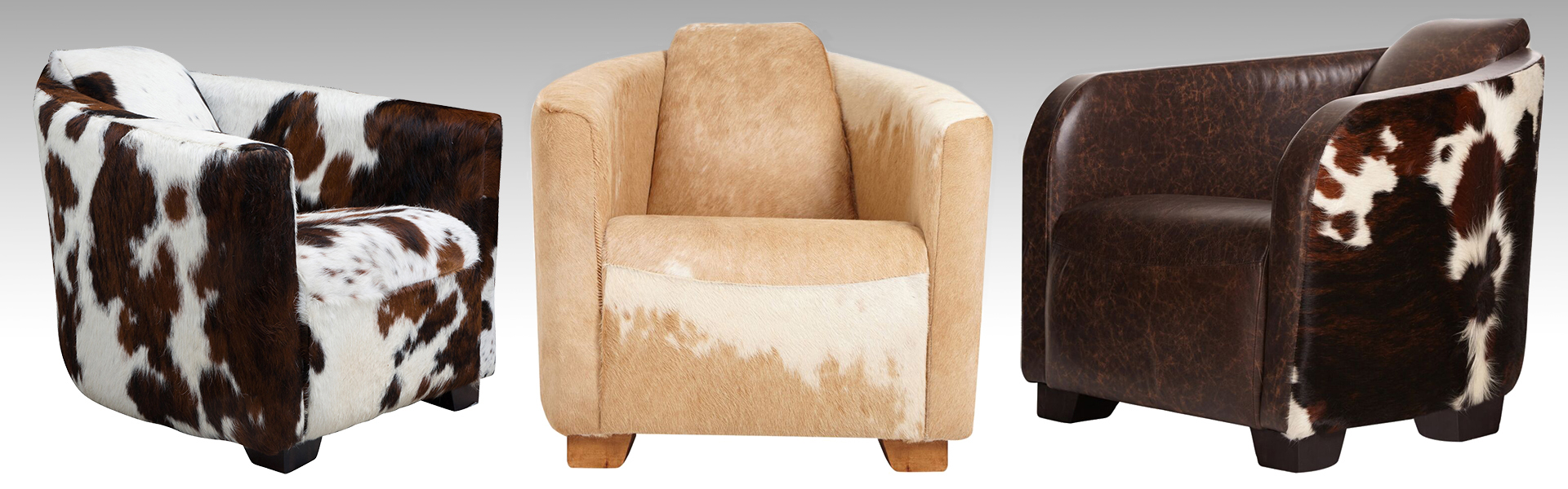 COWHIDE AND LEATHER ARMCHAIRS